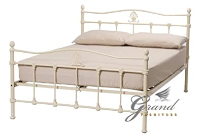 Exclusive Boston Victorian Style Cream Metal Bed Frames Double 4FT6 Retro Antique Bedsteads
