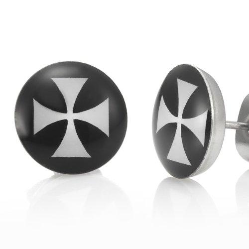Trendy Stainless Steel Black Crutch Cross Mens Stud Earrings