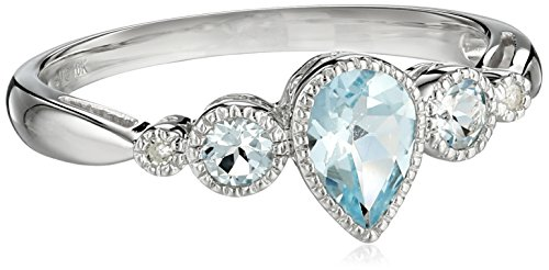10k White Gold Pear Shaped Aquamarine 3-Stone Ring with Diamond-Accent, Size 7 Amazon Curated Collection B0010XRLIK