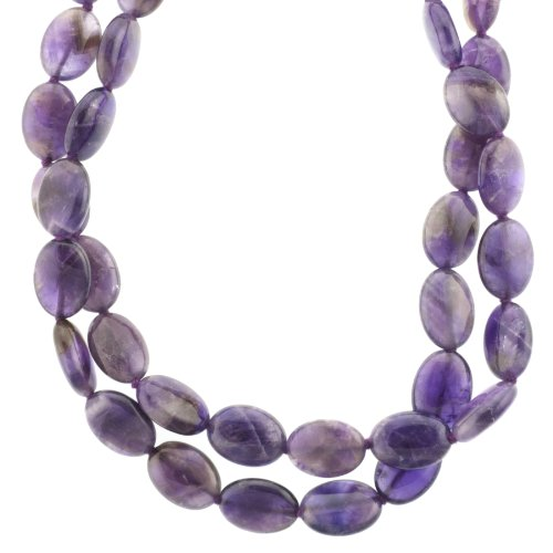 Sterling Silver Amethyst Double Strand Oval Beaded Necklace, 18