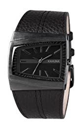Kahuna Men's Quartz Watch with Black Dial Analogue Display and Black Leather Strap KUS-0070G