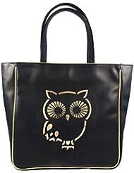 NIDO Black Owl Laser Cut Tote Bag -A131