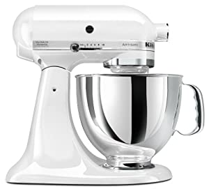 KitchenAid KSM150PSWH Artisan Series 5-Quart Mixer, White