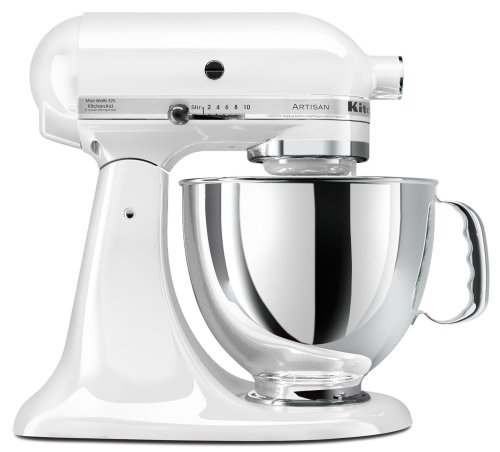 KitchenAid KSM150PSWH Artisan Series 5-Quart Mixer, White