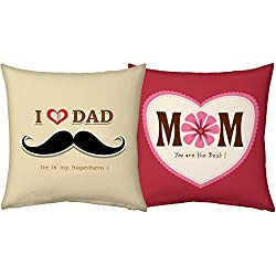 Best Mom Superhero Dad 12x12 Red Beige Filled Cushions Father's Day Mother's Day Birthday Anniversary Gift Hamper