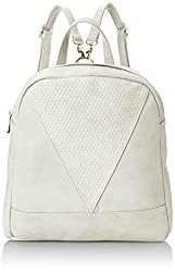 POVERTY FLATS by rian Raised Dot V Backpack, White, One Size
