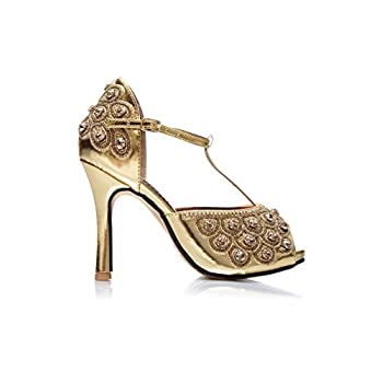 Donna Vintage Inspired T-Strap Heels in Gold