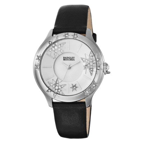 Badgley Mischka Women's BA1087SVBK Swarovski Crystal Accented Silver-Tone Star Theme Strap Watch