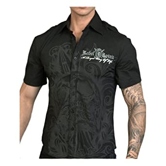 Amazon.com: Rebel Spirit Men's Black Impaled Dagger Skull Short Sleeve
