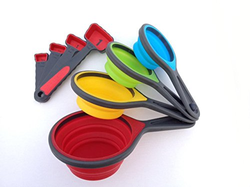 Portable Silicone Collapsible Measuring Cups and Spoons. Great for Kids,Travel,or any Chef who likes to have Fun!