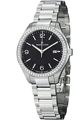 Maurice Lacroix Miros mi1014 - SD502 -330 32 mm Diamonds plateado acero pulsera y anti-reflectante Sapphire funda Reloj para mujer