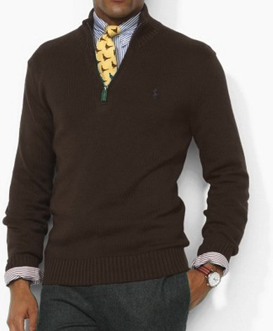 Polo Ralph Lauren Mens Cotton Half Zip Jumper Sweater in Dark Brown (X-Large)