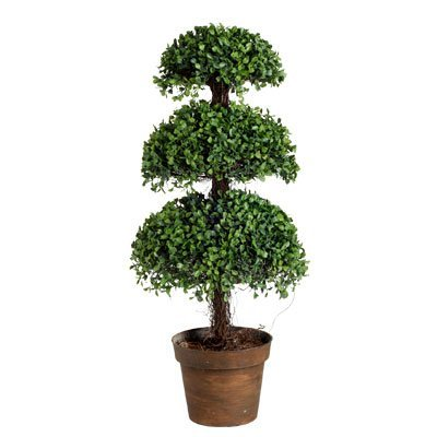 Outdoor Tree Lights 30 Inch Artificial Boxwood Topiary Tree Plant Reviews