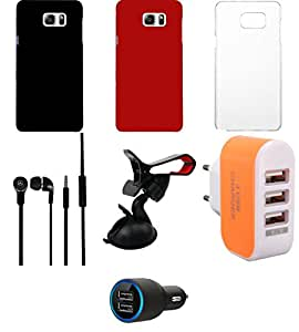 NIROSHA Cover Case Car Charger Headphone Mobile Holder Charger for Samsung Galaxy Note 5 - Combo
