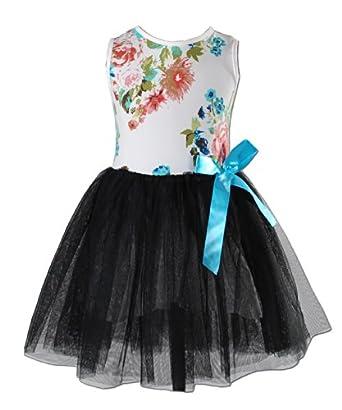 Cinda Girls Flower Party Dress Black 2-3 Years