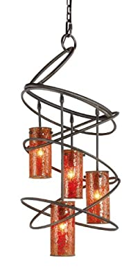Woodbridge Lighting 12514BLK-M10AMB Loop 4-Light Chandelier, 18-1/2-Inch by 35-1/2-Inch, Black