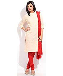 MemSahiba Women Plain Cotton Chudidaar Dupatta Combo (MS-1384_Red)