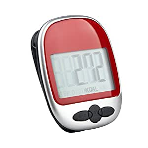 TRIXES High Quality Pedometer Step Counter Exercise Monitor (RED)