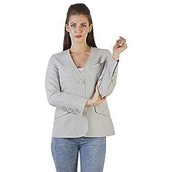 Ladybug Women 2 Button Blazer With Slant Pockets in Grey