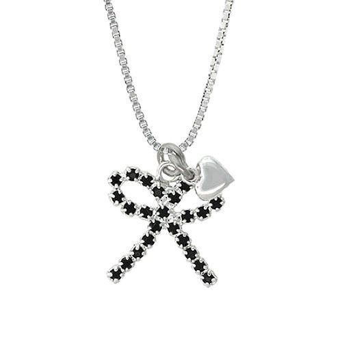 Sterling Silver Black Crystal Bow with Baby Sterling Silver Heart Pendant, 18″