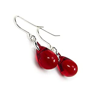 Red Earrings Glass Teardrops Free Gift Box by Diosa Jewellery
