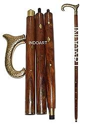 INDOART Walking Stick (CANE) Kings Head , 4PCS Folding , 36