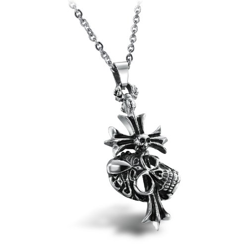 OPK-New Fashion Jewelry Stainless Steel Men's Necklace Personalized Retro Skull Head Cross Pendant 55.3x25mm Chain Necklets 20.6g Weight