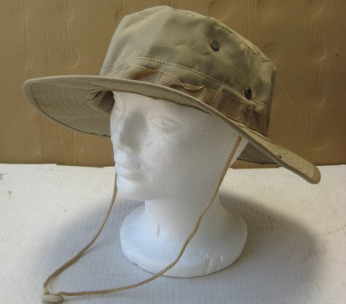 Beige Jungle Bucket Hat with Chin Cord - Large - Head placement 7 3/4 inches in diameter - Hat Rim 2 1/2 inches long - Great gift for outdoor activities like gardening, hiking, and more - Black Friday