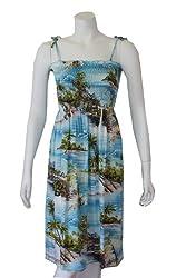 Women's Island Water Fall Rayon Smocked Hawaiian Dress, L, BLUE