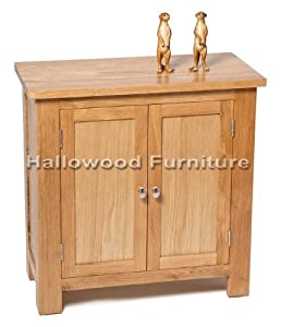 Solid Oak Small Compact Two Door Shoe Toy Filing Bathroom Kitchen Hallway Storage Buffet Cupboard / Cabinet / Sideboard
