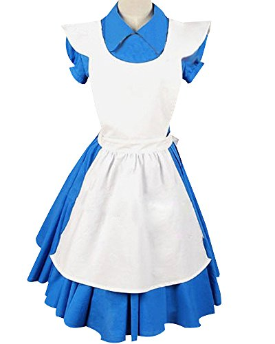 Alice in Wonderland Movie/Film Blue Cosplay Costume Outfit Suit Maid Dress Apron