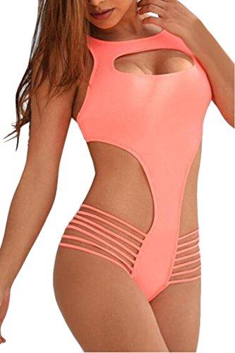 Costumi da bagno sexy di modo del buco della serratura della vita della fasciatura delle donne di un pezzo del bikini costume da bagno Rosa-S