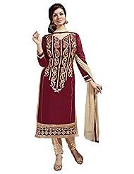 Aarti Lifestyle Women's Chanderi Silk Embroidered Maroon Unstitched Salwar Suit