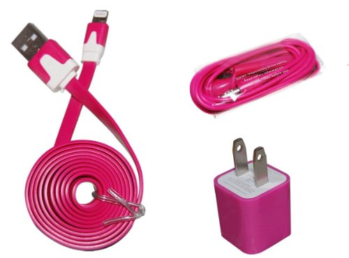 Home Charging Wall Charger, 3 Foot Hot Pink Cord, Earbuds For Ipod Touch 5Th Gen