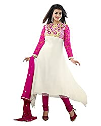 Clothing Deal Women's Faux Georgette Unstitched Dress Material (White)