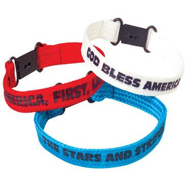 "Lot Of 12 Assorted Patriotic Sayings & Color Cotton Clasp Bracelets - 8"" - 1"