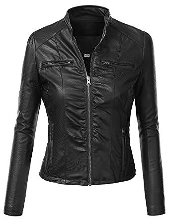 J.TOMSON Women's Faux Leather PU Moto Zip Up Jacket at Amazon Women's Coats Shop