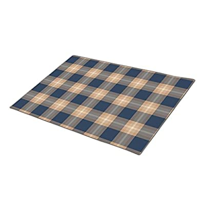 HomeTaste. Monogrammed Door Mat Classic Dark Blue Brown Lumberjack Plaid Pattern Rubber Outdoor Mats