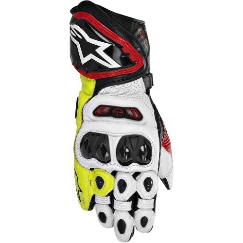 Alpinestars GP Tech Men's Leather Street Bike Racing Motorcycle Gloves - Black/Red/Flourescent Yellow / Medium
