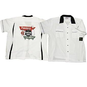 Classic Black and White Bowler Shirt - Paradise Lanes Costume (Men's Adult Medium)