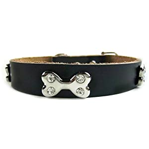 Pet Kingdom Luxury Crystal Cowhide 4 Drill Bone Diamond Dog Collar Cat Collars Pet Collar (Black, Small)