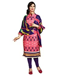 Surat Tex Pink Color Casual Wear Embroidered Chanderi Semi-Stitched Salwar Suit