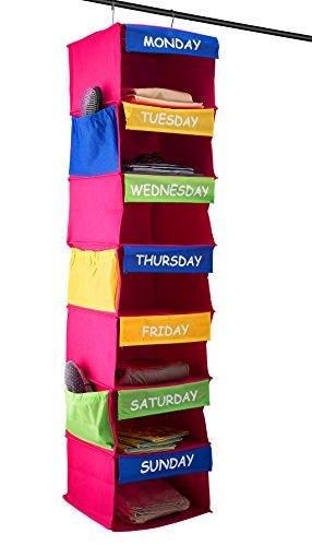 Saganizer DAILY ACTIVITY ORGANIZER Kids 7 shelf portable closet hanging closet organizer great closet solutions (Clothes Organizer For Kids compare prices)
