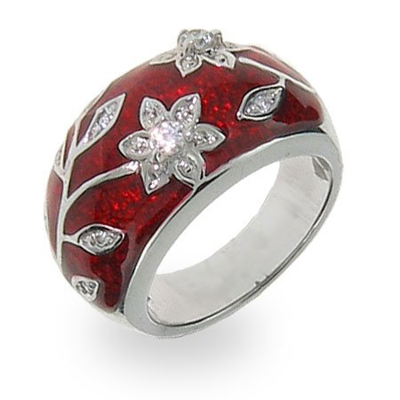 Ruby Red Enamel Ring with Vintage CZ Flower Design Size 8 (Sizes 5 6 7 8 9 Available)