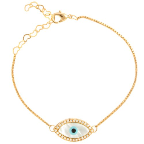 Vika Jewelry - 18k Gold Plated Mother of Pearl and Cubic Zirconia Greek Evil Eye Bracelet.