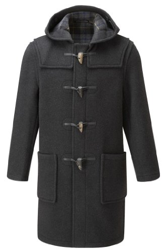 Mens Long Duffle Coats -- Charcoal-Black (38)