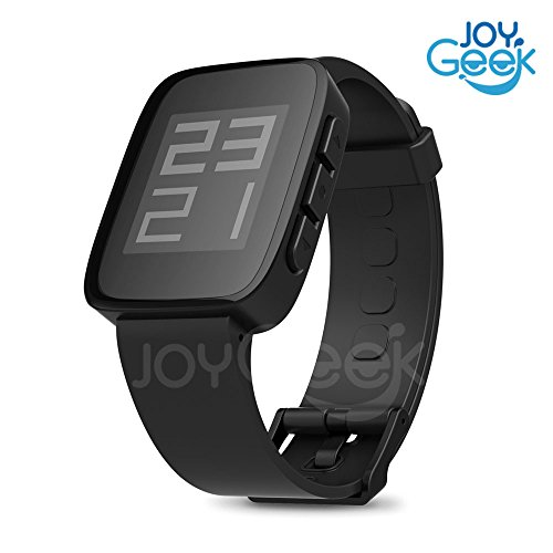 JoyGeek Smart Watch with Bluetooth 4.0/5ATM Waterproof/Camera Controls/Music Controls/Activity Tracker/Sync messages For iOS 7.1:iphone 4S/5/5C/5S/6/6Plus and Android 4.4 smartphones (Bluetooth 4.0 Or Above ) Samsung Galaxy S4/S5/Note3,LG G2(D802),Nexus4/5,HTC M8W/D816W,Sony Z1(l39h)/Z2(L50u)(Black)