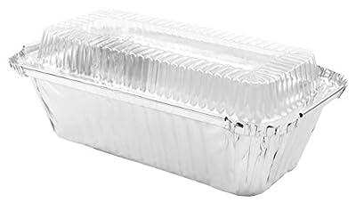 """Durable Foil Bread/Loaf Pans 7-1/4"""" x 3-1/2"""" x 2"""" With Lids, 10 Sets."""