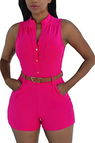 Women Button Jumpsuit Romper with Belt Large Rosy