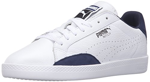 PUMA Women's Match LO Basic Sports Wn's Tennis Shoe, Puma White/Peacoat, 10 M US
